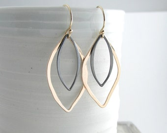 Black And Gold Earrings Marquise Drop Earrings Elegant Dangle Earrings Geometric Jewelry Gold Modern Earrings Gift For Her