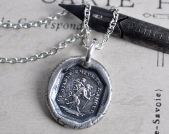 devil pendant - devil wax seal necklace ... the devil with love - French motto fine silver antique wax seal jewelry