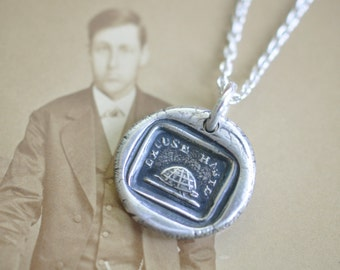 turtle tortoise wax seal necklace - excuse haste - antique fine silver Georgian wax seal jewelry