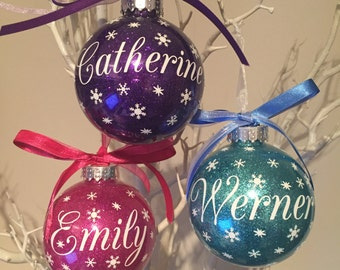3 x Personalised Christmas Baubles