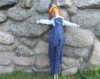 Soft Cloth Doll  Gilbert the Scarecrow Doll garden Doll, Handmade Fabric Doll, Garden stake or marker