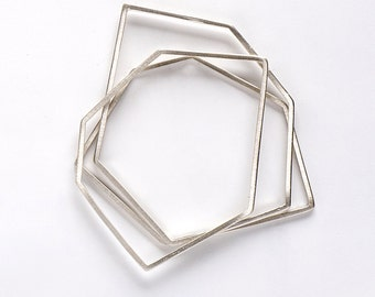 Minimalist Solid Silver Bangle , Geometric Bangle, Sterling Silver Bangle Set, Silver Bangle Bracelet, Silver Bangles Set, Thin Bangle set