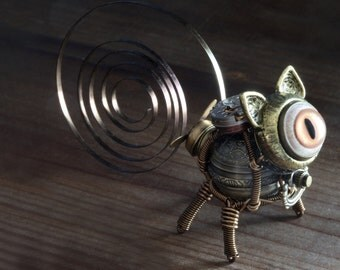 Little Steampunk cat robot sculpture - Made to Order