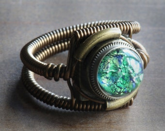 Steampunk Ring, Green Harlequin Glass ,Copper and Antique Bronze ring band, Trending now