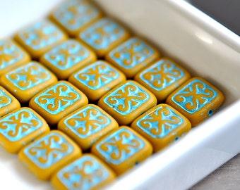Bon Voyage - Czech Glass Beads, Opaque Lemon Mustard, Turquoise Wash, Decorative, Flat Rectangle 12X11mm - 6 Pc
