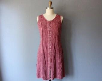 vintage 90s boho dress / rose embroidered mini dress / back tie dress / medium