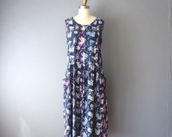 vintage batik dress / 90s light cotton dress / dropped waist summer dress / festival dress / small