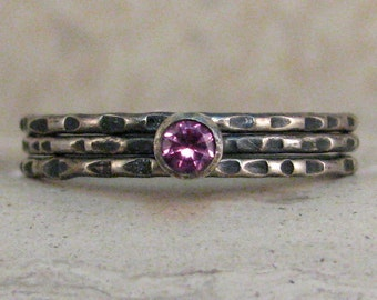 Single Gemstone Stacking Ring Set - Thin Silver Gemstone Band or Stacking Set - Made to Order - Dainty 1mm Stacking Ring