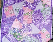 "Pretty 1960s Purple Pink Scarf - Printed Patchwork Design Multicolor Green Blue White- Square 27"" -Acetate Japan- 1960s 60s Womens Accessory"