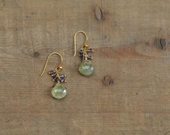 Green Garnet and Amethyst Gemstone Cluster Earrings