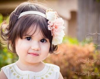 Baby Peach  Headband - Baby Peach Ivory and Gold Headband - Baby Girl Birthday Headband - Baby Photo Prop - Baby Couture Headband