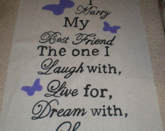 Today I marry my best friend Hand Painted Wedding Aisle Runner 50 foot long