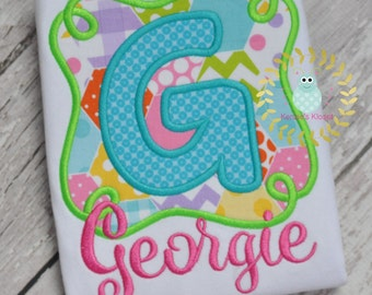 Personalized Name Swirly Frame Applique Shirt - Personalized Name Shirts - Girls Toddler - Baby - 12 mo 18 mo 2t 3t 4t 5t 6 8