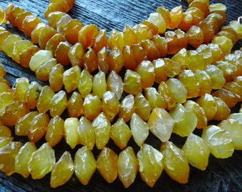 raw chalcedony beads, yellow chalcedony beads, rough amber chalcedony rondelle beads, by BeadsOfBrazil