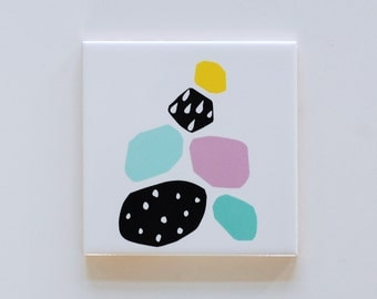 Small screenprinted tile Pebble collection