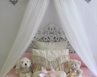 Shabby Chic Princess Bed Crown Canopy Crib Baby Nursery Decor Princess Girls Bedroom FREE White curtains Vintage inspired Chalk paint SALE