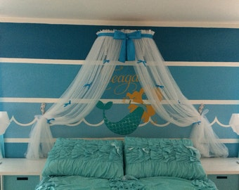 Princess Bed canopy CrOwN with curtains SaLe TuRqUoIsE Petite Bow FREE WHITE SHEERS