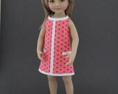 Groovy Pink and Orange dress with headband set for Dianna Effner Little Darlings dolls by Matilda Pink