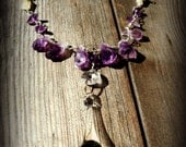 Amethyst and Blown Glass Chandelier Crystal Necklace