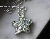 Star Necklace, Fairy Necklace, Glittery Star Necklace. Wishing Star, Shooting Star, Cute Celestial Necklace, Resin Star Pendant by isewcute