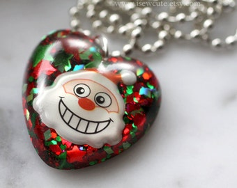 Stocking Stuffer Gift for Girls, Santa Necklace, Christmas Jewelry, Christmas Holiday Jewelry, Santa Claus Face, Girls Christmas Necklace