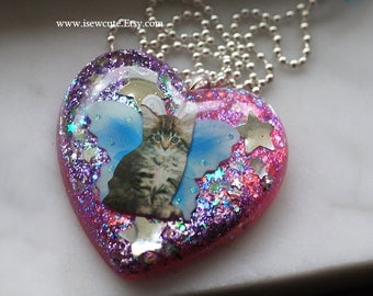 Fairy Necklace, Cat Lover Gift Idea, Cat Necklace, Resin Pendant, Cotton Candy Sunset Glitter, Fairy Kitten Necklace, Handmade by isewcute