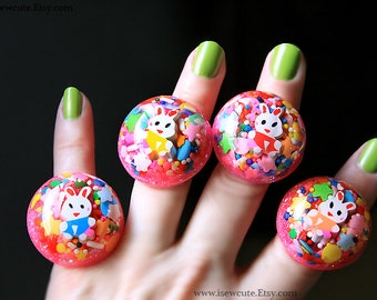 Easter Bunny Ring, Rainbow Ring, Cute Candy Jewelry, Over the Rainbow Giant Glitter Resin Dome Adjustable Ring, handmade by isewcute