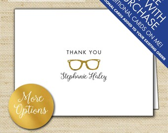 Gold Glitter Retro Glasses Thank You Cards, Personalized Folded Note Cards, Ray-Ban Eye glasses, Buddy Holly Cool Simple Stationery