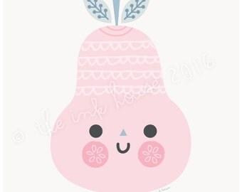 PEAR PRINT, Illustration, A4 wall art, pink pear design, nursery room decor, kids, fruit, children, pink, modern, poster, Scandinavian