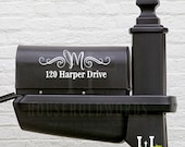 Mailbox Monogram Vinyl Decal, Street Address Decal, Family Name Mailbox initial Decals, Custom Mailbox Vinyl Decal, Pretty Swirl Name decal