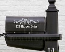 Mailbox Mongram Vinyl Decal,Street Address, Family Name initial Decals, Curb Appeal, Custom Mailbox Vinyl Decal, Pretty Swirls