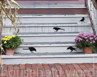 Crow Vinyl Decals, Bird Decals, Halloween Decor, English Teacher Classroom Wall decals, Poetry Gifts