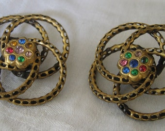 Set of 2 VINTAGE Large Pierced Metal & Rhinestone BUTTONS