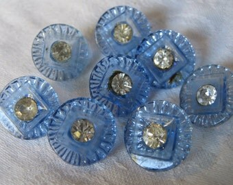 Set of 8 VINTAGE Rhinestone Blue Glass BUTTONS