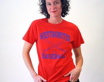 80s Baseball T-Shirt, Westminster Baseball, Red Little League T-shirt, Westminster Vermont Tee, Baseball Team Tee, S