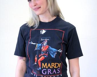 Party Mardi, 80s Mardi Gras Tee, New Orleans T-Shirt, Bourbon Street Tshirt, NOLO Tee, Mardi Gras Jester T-shirt, Screen Stars, Size S