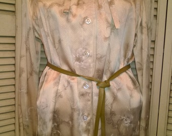 90s Designer Escada silk blouse with silver, grey & white whimsical feathers on creme herringbone background