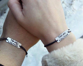 Couples Bracelets, Engraved Bracelet, Date Bracelets, Roman Numerals, Aluminum, Her One, His Only, Handmade, Set of Two Bracelets, Custom