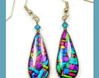 Polymer Clay Mosaic Rainbow Earrings- Resin earrings- Dichroic Earrings- Swarovski Crystal Earrings