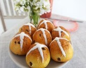 Miniature Hot Cross BUNS with Currants for EASTER -  1:4 Scale Realistic Polymer Clay Food for Larger Fashion Dolls & BJD's