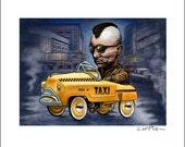 Taxi Driver Pedal Car 8 x 10 Signed Print