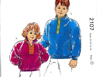Kwik Sew 2107 Childrens Boys Girls Pullover Jacket Fleece Sweatshirt Knits Childrens Sizes 8 10 12 14 Uncut Vintage Sewing Pattern 1991