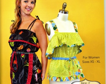 Modkid Gabrielle Sleeveless Summer Dress Shirt Mock Wrap Skirt Size XS to XL Uncut Sewing Pattern