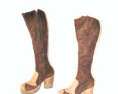 1970s BOHO platform boots mod color blocked brown suede tall RETRO knee high hippie boots