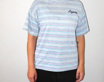 80s paper thin mock neck Tshirt 1980s vintage neon striped Aspen Colarado destination tee medium