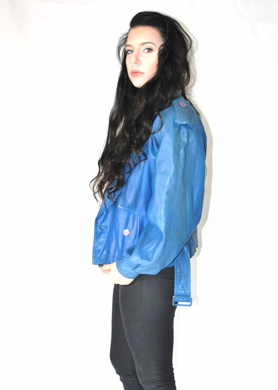 Electric blue leather jacket