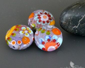 Handmade lampwork beads  set     Spring Meadow     artisan glass      lentils        made by Silke Buechler
