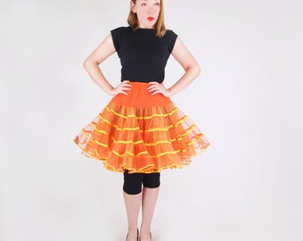 60s Orange Tulle and Organza 2-Layer Crinoline Slip Malco Modes S M