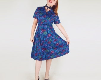 50s Deep Blue Flower Print Knit Belted Dress by Penney's L