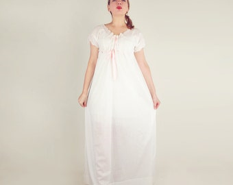 Edwardian Cotton Batiste Nightgown with Eyelet Lace and Ribbons L